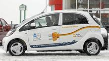 Boucherville, Que., Mayor Jean Martel (in passenger seat) drove a Mitshubishi i-MiEv throuygh the Quebec winter. (Luc Lavergne/City of Boucherville)