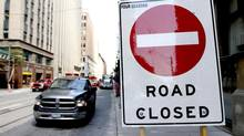 Construction has closed Richmond Street between Bay and York - among many streets in and around downtown Toronto. (Fernando Morales/The Globe and Mail)