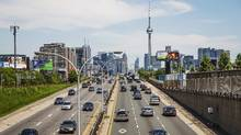 Cars drive in traffic on the Gardiner Expressway in Toronto. (MARK BLINCH/REUTERS)