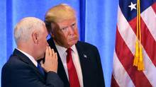 President-elect Donald Trump stands with vice president-elect Mike Pence at a news conference at Trump Tower on Jan. 11, 2017, in New York City. (Spencer Platt/Getty Images)