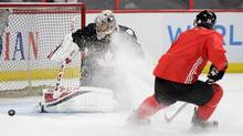Team Canada's Carey Price takes part in practice in Ottawa on Sept. 5, 2016, in preparation for the World Cup of Hockey. (Sean Kilpatrick/THE CANADIAN PRESS)