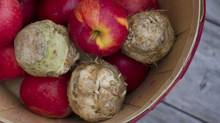 Apples and celeriac photographed at a farmers' market in Toronto on Oct. 31, 2015. (Kevin Van Paassen For The Globe and Mail)