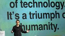 Twitter co-founder Biz Stone speaks to the Board of Trade Feb. 22, 2012 in Montreal. (Ryan Remiorz/Ryan Remiorz / CP)