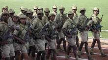Eritrea, located in the Horn of Africa, is one of the world's most repressive and secretive countries. In this file photo, soldiers march in the country's independence day ceremonies. (STR/REUTERS)