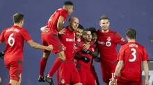 Toronto FC celebrates a goal against New York City FC during their second-leg semi-final matchup on Nov. 6, 2016. (Winslow Townson/USA Today Sports)