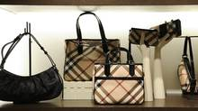 Bags and accessories at the new Burberry store on Bloor St West., Toronto. (Fred Lum/The Globe and Mail)