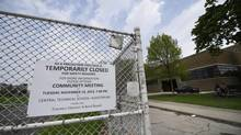 Central Technical School and its closed playing field are seen in Toronto on May 21. (Fred Lum/The Globe and Mail)