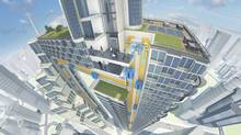 A render of the Multi elevator shows how cabins can move in vertical loops, as well as horizontally, due to the cable-free design. (ThyssenKrupp)