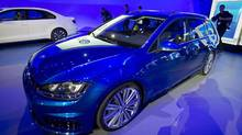 A Volkswagen Sportwagen is pictured at a media event at the Jacob Javits Convention Center during the New York International Auto Show in New York April 16, 2014. (Carlo Allegri/REUTERS)