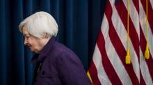 Janet Yellen, chair of the U.S. Federal Reserve, exits after a news conference following a Federal Open Market Committee (FOMC) meeting in Washington, D.C., U.S., on Wednesday, Sept. 21, 2016. (Pete Marovich/Bloomberg)