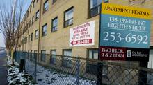An apartment vacancy sign is seen on an apartment in Toronto. (Tibor Kolley/The Globe and Mail)