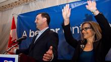 Ontario PC candidate for Thornhill Gila Martow celebrates a victory in the Thornhill by-election with Ontario PC leader Tim Hudak on Thursday Feb. 13, 2014 (Galit Rodan/Canadian Press)
