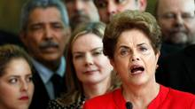 Brazil's former President Dilma Rousseff, who was removed by the Brazilian Senate from office earlier, speaks at the Alvorada Palace in Brasilia, Brazil, August 31, 2016.