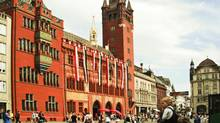 Pedestrian area of Basel; the Rathaus (city hall) is frequented by bikes (Wallace Immen/The Globe and Mail)