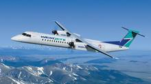 A Bombardier Q400 NextGen aircraft in WestJet livery is shown in this illustration. (Bombardier)