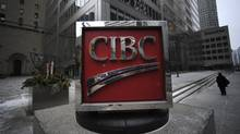 Exteriors of the CIBC sign located on the sidewalk outside the bank's head offices at the corner of King St. West and Bay St. in Toronto. (Fred Lum/Fred Lum/The Globe and Mail)