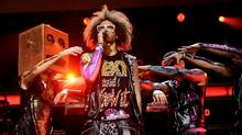 Singer RedFoo, center, of LMFAO performs at Madison Square Garden , Dec. 9, 2011 in New York. (Evan Agostini/AP)