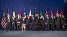 Trans-Pacific Partnership (TPP) leaders pose for a family photo prior to a meeting on the sidelines of the Asia-Pacific Economic Cooperation (APEC) Summit in Manila on November 18, 2015. (SAUL LOEB/AFP/Getty Images)