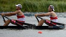 Canada's Scott Frandsen, left, and David Calder row the men's pair semi-final during the 2012 Summer Olympics in Dorney, England on Wednesday, August 1, 2012. (The Canadian Press)