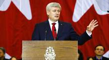 Canadian Prime Minister Stephen Harper announces Canada's sweeping new anti-terror legislation in Richmond Hill, Ont., last week. (Mark Blinch/Reuters)