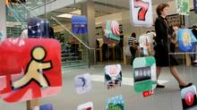 Icons for Apple applications at the company's retail store in San Francisco, California in this April 22, 2009 file photo. (ROBERT GALBRAITH)
