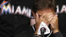 Miami Marlins manager Don Mattingly struggles with his emotions as he speaks during the team's press conference about the death of Jose Fernandez, Sunday, Sept. 25, 2016. (Carl Juste/AP)