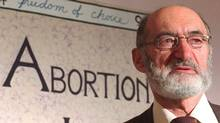 Dr. Henry Morgentaler speaks at press conference in Toronto January 28, 1988 to mark the ten-year anniversary of Canada's Supreme Court decriminalizing abortion. (John Lehmann/The Globe and Mail)