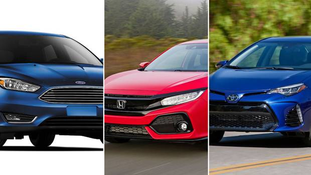 From left, a 2017 Ford Focus, a 2017 Honda Civic and a 2017 Toyota Corolla.