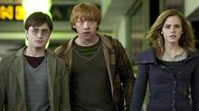"""Flat Harry Potter, Flat Ron Weasley and Flat Hermione Granger in a scene from the (2-D) """"Harry Potter and the Deathly Hallows: Part 1."""" (AP)"""