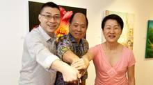 Ian Tan Gallery Hong Kong partners Thomas Hui, Ian Tan, Cecila Koo at the opening ceremony of the Hong Kong gallery.