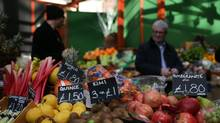 Fruit and vegetables at a food stall in a street market in southeast London. British inflation soared close to a four-year high in May, official data showed on June 13, 2017, boosted by the rising cost of food, energy and recreational goods. (DANIEL LEAL-OLIVAS/AFP/Getty Images)