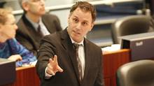 Councillor Josh Colle speaking during the ongoing budget debate at Toronto City Hall on Jan. 17, 2011. (Peter Power/The Globe and Mail/Peter Power/The Globe and Mail)