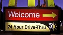 A McDonald's restaurant's drive-thru sign is pictured in Los Angeles April 4, 2011. (MARIO ANZUONI/Mario Anzuoni/Reuters)