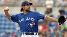 When Toronto Blue Jays' R.A. Dickey starts his first game this season, he will be the third-oldest player on an opening day roster. (Justin K. Aller/Getty Images)