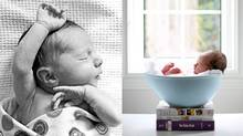 A sleepy newborn, shot in a naturalistic style, reflects a new, low-key approach to baby pictures; a recent trend toward fantastic props, is falling out of favour. (Jennifer Pearson Photography)