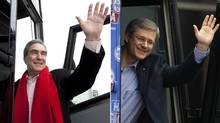 In this combination photo, Liberal leader Michael Ignatieff (L) waves as he gets on his bus following a campaign stop in Regina, Sask, Saturday, April 16, 2011. Conservative leader and Canada's Prime Minister Stephen Harper (R) waves as he boards his campaign bus in Richmond Hill, Ontario April 7, 2011. (Jonathan Hayward/The Canadian Press and Chris Wattie/Reuters/Jonathan Hayward/The Canadian Press and Chris Wattie/Reuters)