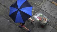 A woman walks next to a relative as she pulls her cart filled with groceries from a feira livre market in the Mooca neighbourhood of Sao Paulo January 26, 2013. Brazil's official inflation rose to above the centre of its target estimate due to food pressures, local media reported. (Nacho Doce/REUTERS)