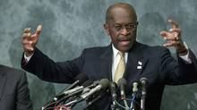 Republican presidential candidate Herman Cain gestures as he speaks to legislators in the Congressional Health Care Caucus on Capitol Hill in Washington November 2, 2011. (JONATHAN ERNST/REUTERS/JONATHAN ERNST/REUTERS)