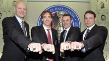 Mats Sundin, Joe Sakic, Adam Oates and Pavel Bure were inducted into the Hall of Fame during a time of no NHL hockey. (MIKE CASSESE/REUTERS)