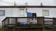 The Moncton trailer-park home where Justin Bourque lived after moving out on his own is shown on June 6, 2014. (FRED LUM/THE GLOBE AND MAIL)