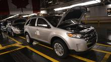 The assembly line Ford's Oakville plant is seen in this file photo. In August, Canadian factor sales fell 0.2 per cent. (Fred Lum/The Globe and Mail)