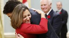 The love affair towards Justin Trudeau's reign seemingly includes a no humour allowed policy, as John Doyle found out when he joked about Chrystia Freeland's propensity to wear a red dress. (CHRIS WATTIE/REUTERS)