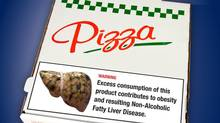 The Ontario Medical Association says junk food should be treated the same way as tobacco, slapped with higher taxes and packaged with graphic warning labels, similar to this mockup. (OMA)