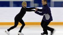 Tie Domi and Christine Hough-Sweeney skate together in practice for the CBC presentation of Battle of the Blades. (Peter Power)