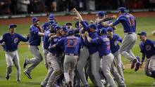 In this Nov. 3, 2016 file photo, Chicago Cubs celebrate after Game 7 of the Major League Baseball World Series against the Cleveland Indians in Cleveland. The Cubs won 8-7 in 10 innings to win the series 4-3. Baseball's lovable losers were favored to finally break through after assembling a powerhouse team that led the majors with a 103-59 record. This being the Cubbies, of course, they had to make their first title since 1908 as difficult as possible. (Charlie Riedel/AP)