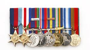 World War II and more recent medals belonging to WWII vet Andrew Bogle who is now 86 years old and lives in Calgary, AB. Left to right : 1.3945 Star 2.) The France-Germany Star 3.) The Canadian Volunteer Service Medal 4.) The 1939-45 War Medal 5) The Police Exemplary Service Medal 6) The Alberta Centennial Medal