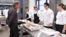 Mark McEwan, host of Top Chef Canada, instructs contestants.