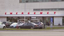 Emergency Entrance at Brampton Civic Hospital. Officals say they are treating a case that has Ebola-like symptoms in the hospital. (Lindsay Lauckner For The Globe and Mail)