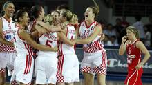 Croatia's players celebrate their victory against Canada (UMIT BEKTAS/REUTERS)