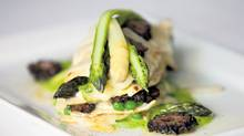 Crispy lasagna with asparagus, morels and green peas by chef Massimo Capra of Mistura. (Moe Doiron/The Globe and Mail)